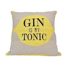 Gin Is My Tonic Cushion - 39 x 40 cm - Grey and Yellow Novelty Lemon Gin Pillow