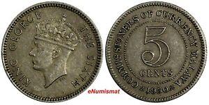 Malaya Copper-Nickel King George VI 1950 5 Cents Last Year Type KM# 7 (18 666)