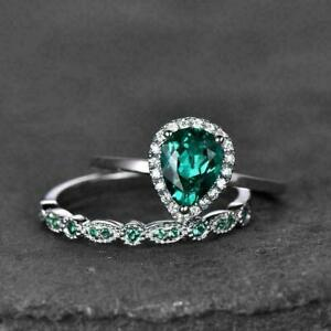 DAINTY STACKABLE ENGAGEMENT BRIDAL RING SET 2.03 CT PEAR EMERALD 14K WHITE GOLD