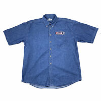Sea Palms Richard Petty Nascar Mens Long Sleeve Button Down Denim Shirt XL