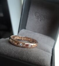 Clogau Welsh 18ct Rose Gold Cariad 3 x Diamond Ring  -  size  L