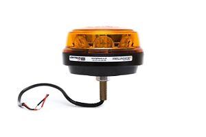 Low Profile Single Bolt Mount R65 Rotating Flashing Amber LED Strobe Beacon
