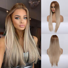 EASIHAIR Long Straight Ombre Blonde Cosplay Synthetic Wigs for Women Hair Wig