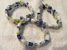 Beads-Lampwork Glass-Millefiori-Murano-2 hole Spacer Beads-Bracelet Stretchy X 1
