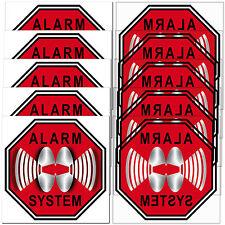 Set Alarm System Aufkleber 5cm Sticker gesichert gespiegelt Innenseite Fenster