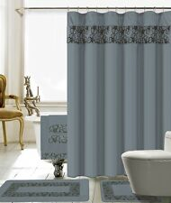 18 Piece Lilian Embroidery Banded Shower Curtain Bath Set (Gray)