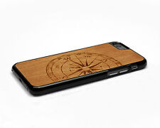Handcrafted Wood iPhone 6 Case with Soft Rubber Sides by Nuwoods, Compass
