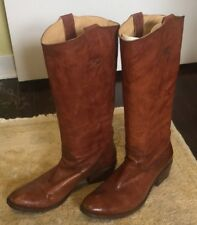 FRYE Carson Tab Tall Boot Cognac Antique Soft Leather Pull On Riding Boots 9
