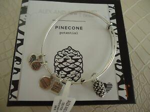 ALEX AND ANI PINECONE Rafaelian Silver Charm Bracelet New W/ Tag Card & Box