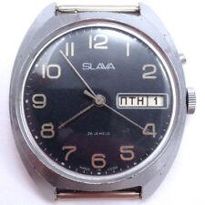 *US SELLER* Russian Soviet SLAVA WindUp Watch Dark Dial Serviced #712