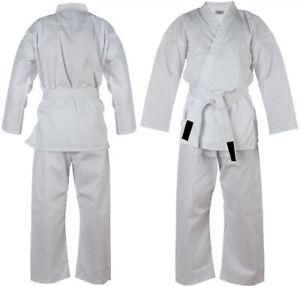 White Karate Suit Adult Kids Karate gi Martial art Uniform Free Belt poly cotton