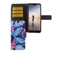 Schutz Hülle für Handy Huawei P20 Lite Blauer Schmetterling Tasche Wallet Cover