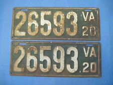 1920 Virginia License Plates Matched pair