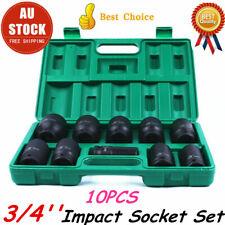 "10pcs 3/4"" Drive Deep Impact Socket Set Metric Imperial Garage 22-41mm High DUTY"