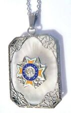 Sterling VFW Camphor Glass Pendant Necklace ~ART DECO /Edwardian 1920s Auxiliary