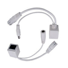 White Power Over Ethernet Passive PoE Adapter Injector + Splitter Kit PoE Cable