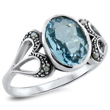 3 CT. GENUINE SKY BLUE TOPAZ & PEARL ANTIQUE DESIGN .925 SILVER RING SZ 6,  #206