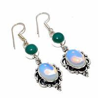 Classic Milky Opal, Green Onyx Handmade Ethnic Style Jewelry Earring 2.17 Inch