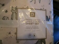 Pottery Barn Teen organic full Constellaion flannel sheet set powdered blush