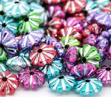 1000 Mix Mehrfarbig Blumen Acryl Spacer Perlen Beads Zwischenteile 6x4mm