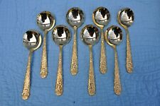 Vintage Viners Of Sheffield VS GOLD ELECTROPLATE 8 Cream Soup Spoons (corrosion)