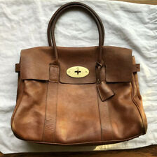 Auth MULBERRY Bayswater Handbag Purse Camel Brown Leather Classic Lock Key GUC