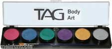 TAG Body Art 6 x 10g Pearl Palette & 2 Brushes, Face & Body Paint Makeup Party