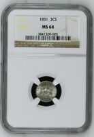 1851 3CS Three Cent Silver - NGC MS 64