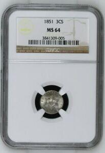 1851 3CS Three Cent Silver - NGC MS 64