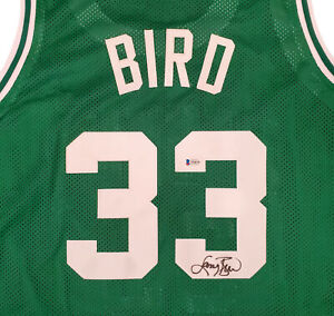 BOSTON CELTICS LARRY BIRD AUTOGRAPHED SIGNED GREEN JERSEY BECKETT 192593