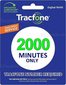 TracPhone Tracfone - 2000 Minutes only Airtime PIN # Email Smartphone Trackphone