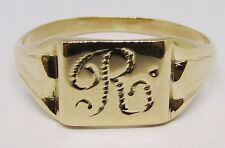 100% Genuine Vintage 9k Solid Rose Gold R Signet Ring Sz 8.5US