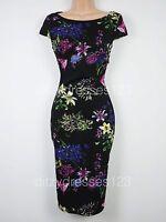 BNWT Ax Paris Floral Print Bodycon Wiggle Dress Size 8 Stretch