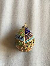 Large Russian Green Blue Gold Red White  Guilloche Enamel Egg Charm Pendant