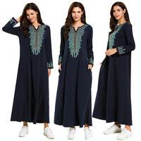 Muslim Women Long Maxi Dress Robe Abaya Jilbab Embroidery Islamic Ethnic Dresses