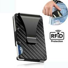 Men's Slim Carbon Fiber Credit Card Holder RFID Blocking Metal Wallet Money Clip