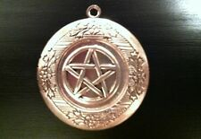 """Silver 18"""" Chain, Wiccan Pentacle Photo Locket Necklace, Sterling"""