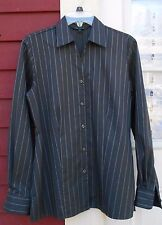 """TWINHILL Wrinkle/Stain Resistant Black/Gray Long Sleeved Shirt Size 6 (40"""") MINT"""