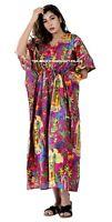 Indian Cotton Frida Kahlo Printed Long Kaftan Dress Summer Beach Sleep Wear Gown