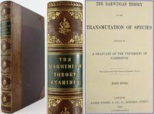 1868*DARWINIAN THEORY EXAMINED*TRANSMUTATION OF SPECIES*DARWIN*ORIGIN*EVOLUTION*