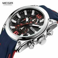 Megir Men's Chronograph Analog Quartz Luminous Waterproof Silicone Rubber Watch