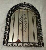 Vtg Oval Top Mirror w/Ornate Scroll metal & twisted wire w/shutters Tri-fold