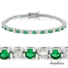 "7.65 Ct Simulated Emerald & AAA Cubic Zirconia Rhodium Plated 7"" Tennis Bracelet"