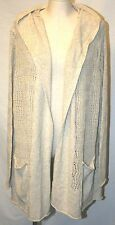 EDDIE BAUER CROCHET KNIT OPEN FACE COVER UP DRAPE CARDIGAN LINEN Duster BEIGE 2X