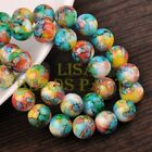 Hot 20pcs 12mm Round Charms Glass Loose Spacer Beads Green Yellow Colorized