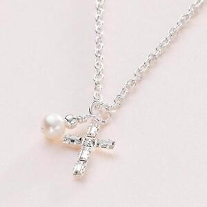 Impresionante Baguette Cristal Cruz & Collar de Perlas, Bautismo/Bautizo Collar