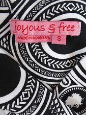 JOYOUS & FREE Dress Casual SIZE SMALL White Black Print Beaded Plunge Neckline