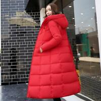 Women's Chic Long Down Cotton Parka Slim Hooded Coat Quilted Jacket Solid Coats