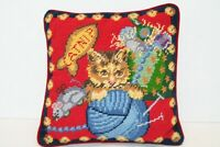 "Needlepoint Kitten playing with ball of yarn Pillow back  Red Velvet Pillow 9"""