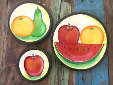 Mexican Ceramic Clay Fruit Plates 3 Set Folk Art Wall Decorate Your Home Cute